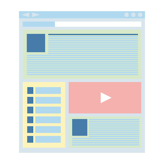 Platte websitesjabloon, webdesigntechnologie. vector illustratie