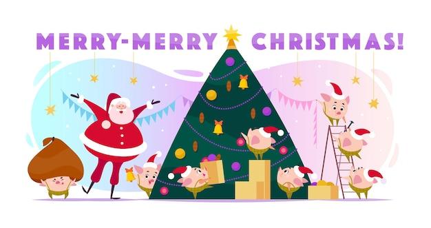 Platte wenskaart met santa claus-lach en 8 kleine ronde varkenself in kerstmuts die grote kerstboom decoreert, dozen draagt en enorm slecht. cartoon-stijl.