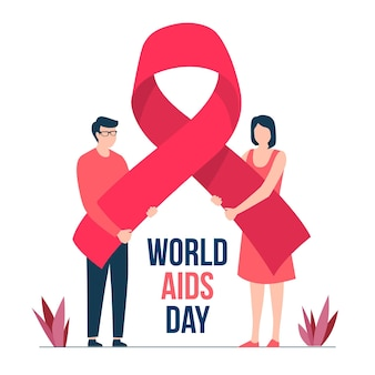 Platte wereld aids dag concept
