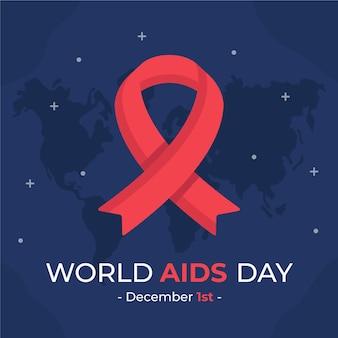 Platte wereld aids-dag geïllustreerd lint op sterrenkaart