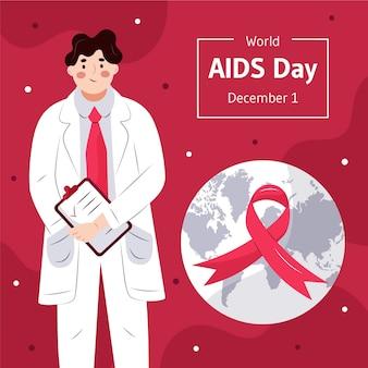 Platte wereld aids dag illustratie