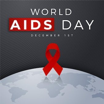 Platte wereld aids dag lint op aardebol