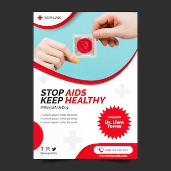 Platte wereld aids dag verticale postersjabloon