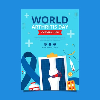 Platte wereld artritis dag verticale poster sjabloon