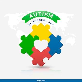 Platte wereld autisme bewustzijn dag illustratie