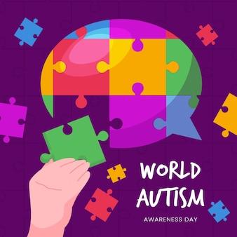 Platte wereld autisme dag bewustzijn illustratie met puzzelstukjes