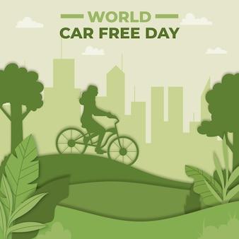 Platte wereld autovrije dag in papierstijl