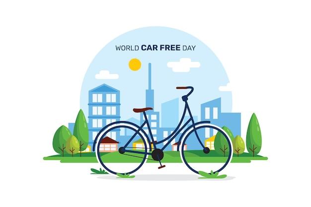Platte wereld autovrije dag