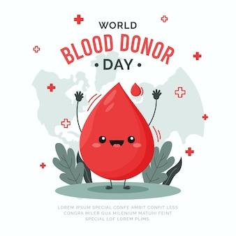 Platte wereld bloeddonordag illustratie