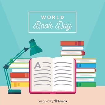 Platte wereld boek dag achtergrond