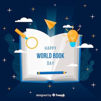 Platte wereld boek dag banners