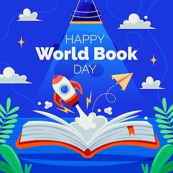 Platte wereld boek dag illustratie