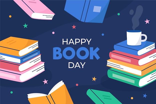 Platte wereld boekdag illustratie