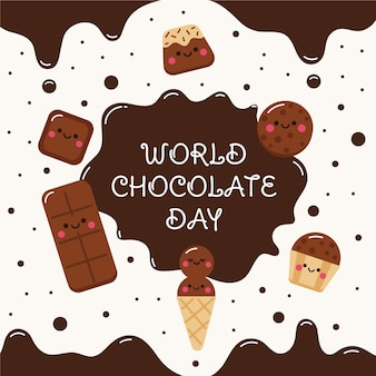 Platte wereld chocolade dag illustratie