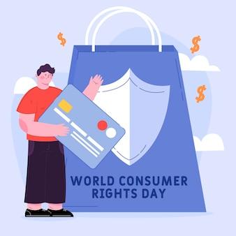 Platte wereld consumentenrechten dag illustratie