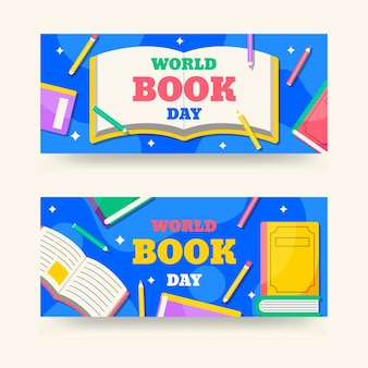 Platte wereld dagboek banners