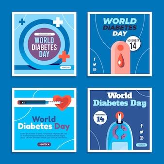 Platte wereld diabetes dag instagram posts collectie