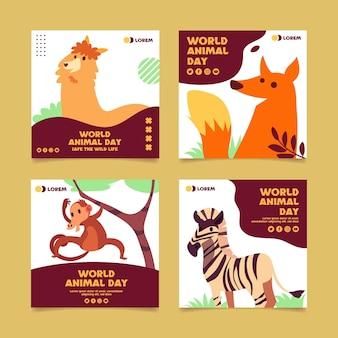 Platte wereld dierendag instagram posts collectie