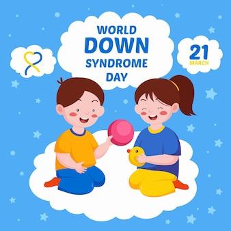 Platte wereld down syndroom dag illustratie