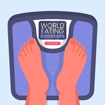 Platte wereld eetstoornissen actiedag illustratie