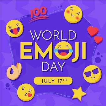 Platte wereld emoji dag illustratie