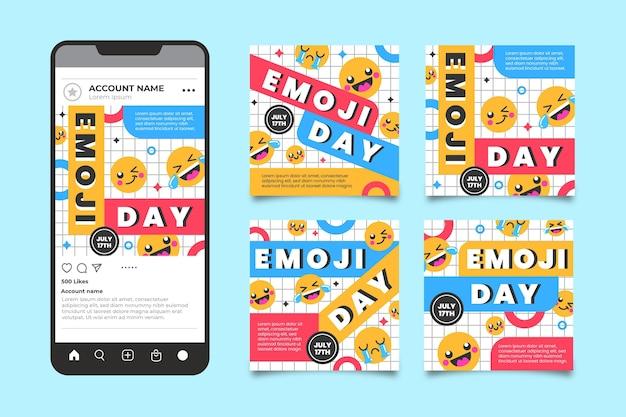 Platte wereld emoji dag instagram postverzameling