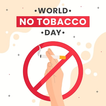 Platte wereld geen tabak dag illustratie