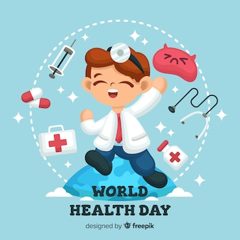 Platte wereld gezondheid dag achtergrond