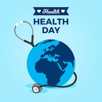 Platte wereld gezondheid dag behang