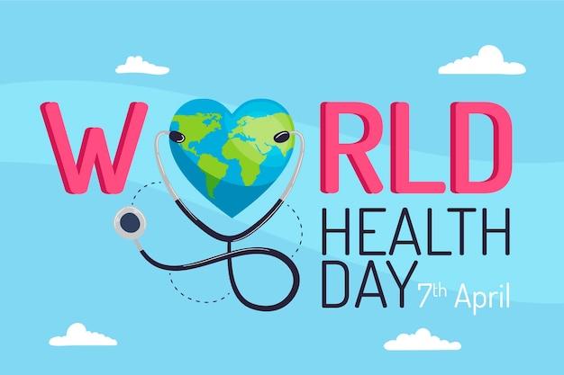 Platte wereld gezondheid dag evenement concept