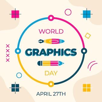 Platte wereld grafische dag evenement