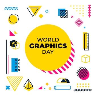 Platte wereld grafische dag illustratie