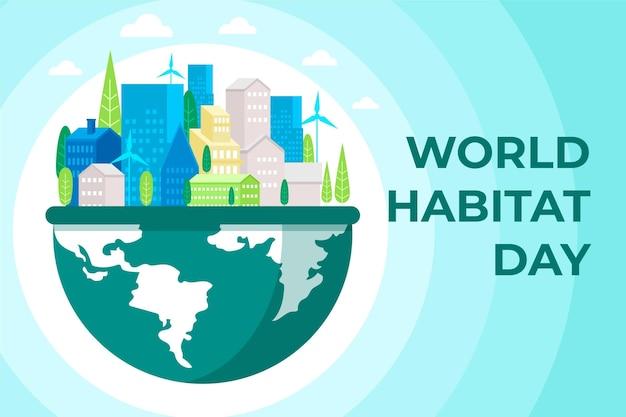Platte wereld habitat dag concept