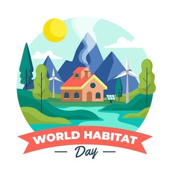 Platte wereld habitat dag illustratie