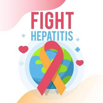 Platte wereld hepatitis dag illustratie