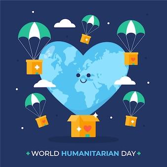 Platte wereld humanitaire dag illustratie