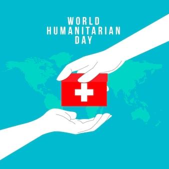 Platte wereld humanitaire dag