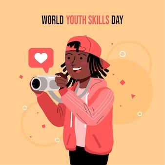 Platte wereld jeugdvaardigheden dag illustratie