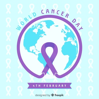 Platte wereld kanker dag achtergrond