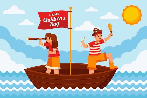 Platte wereld kinderdag achtergrond