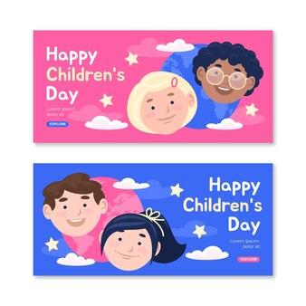 Platte wereld kinderdag horizontale banners set