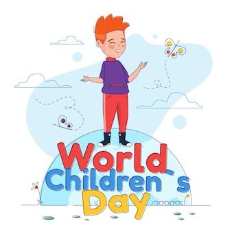 Platte wereld kinderdag illustratie