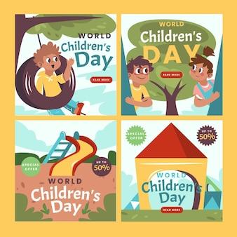 Platte wereld kinderdag instagram posts collectie