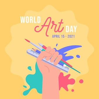 Platte wereld kunst dag illustratie