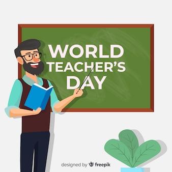 Platte wereld leraar dag achtergrond