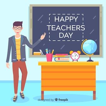 Platte wereld lerarendag met leraar in de klas