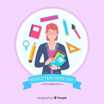 Platte wereld lerarendag met schoolbenodigdheden