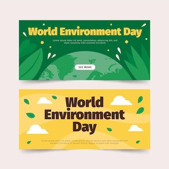 Platte wereld milieu dag banner set