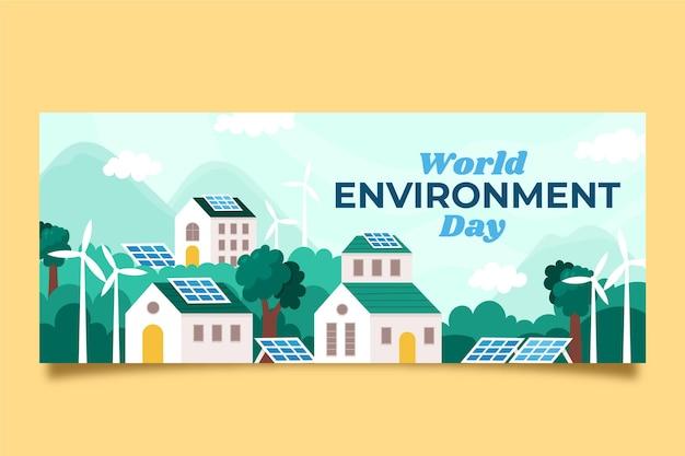 Platte wereld milieu dag banner