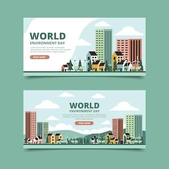 Platte wereld milieu dag banners instellen